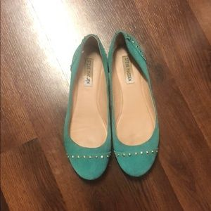 Steve Madden Flats Green with Gold Studs